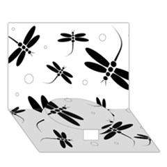 Black and white dragonflies Circle Bottom 3D Greeting Card (7x5)