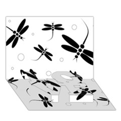 Black and white dragonflies LOVE Bottom 3D Greeting Card (7x5)