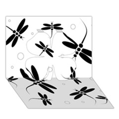 Black and white dragonflies Clover 3D Greeting Card (7x5)