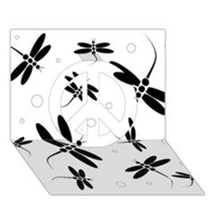 Black and white dragonflies Peace Sign 3D Greeting Card (7x5)