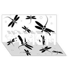 Black and white dragonflies #1 MOM 3D Greeting Cards (8x4)