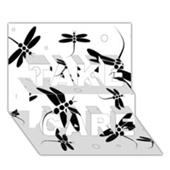 Black and white dragonflies TAKE CARE 3D Greeting Card (7x5)