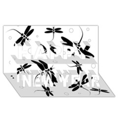 Black and white dragonflies Happy New Year 3D Greeting Card (8x4)
