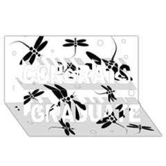 Black and white dragonflies Congrats Graduate 3D Greeting Card (8x4)