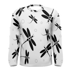 Black and white dragonflies Men s Long Sleeve Tee