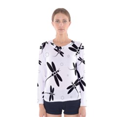 Black and white dragonflies Women s Long Sleeve Tee