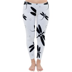 Black and white dragonflies Winter Leggings