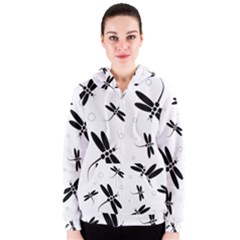 Black and white dragonflies Women s Zipper Hoodie