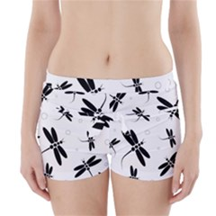 Black And White Dragonflies Boyleg Bikini Wrap Bottoms