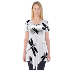Black and white dragonflies Short Sleeve Tunic