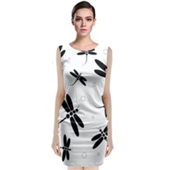 Black and white dragonflies Classic Sleeveless Midi Dress