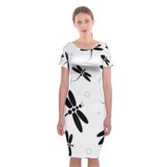Black and white dragonflies Classic Short Sleeve Midi Dress