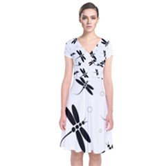 Black and white dragonflies Short Sleeve Front Wrap Dress