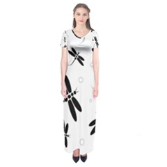 Black And White Dragonflies Short Sleeve Maxi Dress