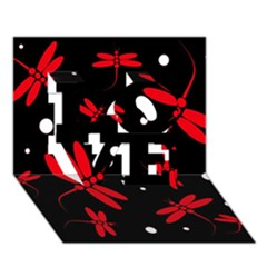 Red, black and white dragonflies LOVE 3D Greeting Card (7x5)