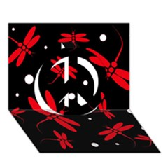 Red, black and white dragonflies Peace Sign 3D Greeting Card (7x5)