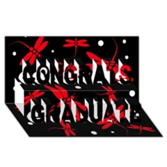 Red, black and white dragonflies Congrats Graduate 3D Greeting Card (8x4)