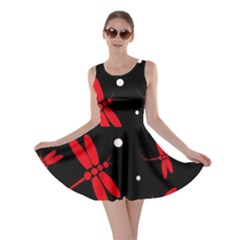 Red, black and white dragonflies Skater Dress