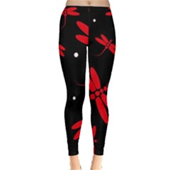 Red, black and white dragonflies Leggings