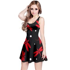 Red, black and white dragonflies Reversible Sleeveless Dress