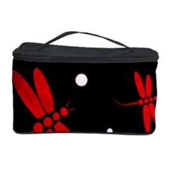 Red, black and white dragonflies Cosmetic Storage Case