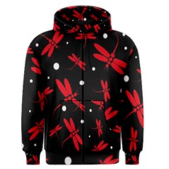 Red, black and white dragonflies Men s Zipper Hoodie