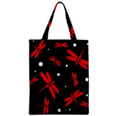 Red, black and white dragonflies Zipper Classic Tote Bag