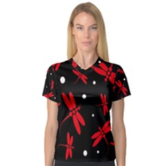 Red, black and white dragonflies Women s V-Neck Sport Mesh Tee