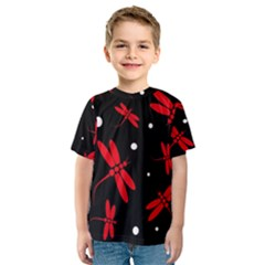 Red, black and white dragonflies Kid s Sport Mesh Tee