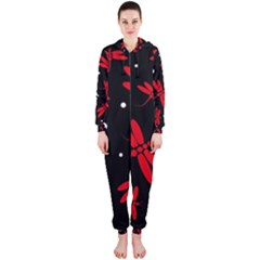 Red, black and white dragonflies Hooded Jumpsuit (Ladies)