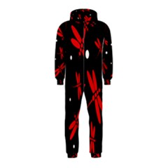 Red, black and white dragonflies Hooded Jumpsuit (Kids)