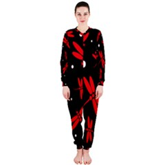 Red, black and white dragonflies OnePiece Jumpsuit (Ladies)
