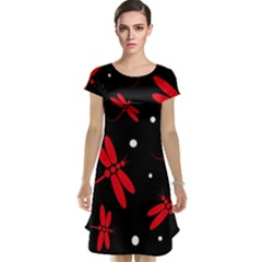 Red, black and white dragonflies Cap Sleeve Nightdress