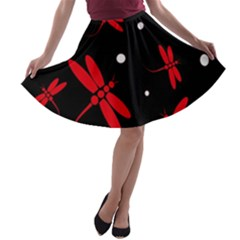 Red, black and white dragonflies A-line Skater Skirt