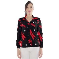 Red, black and white dragonflies Wind Breaker (Women)