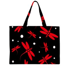 Red, black and white dragonflies Large Tote Bag