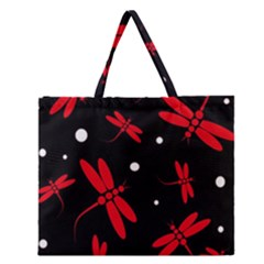Red, Black And White Dragonflies Zipper Large Tote Bag