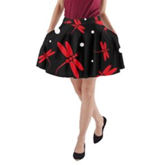 Red, black and white dragonflies A-Line Pocket Skirt