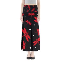 Red, black and white dragonflies Maxi Skirts