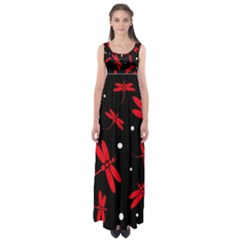 Red, black and white dragonflies Empire Waist Maxi Dress