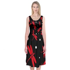 Red, black and white dragonflies Midi Sleeveless Dress