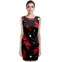 Red, black and white dragonflies Classic Sleeveless Midi Dress