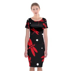 Red, black and white dragonflies Classic Short Sleeve Midi Dress