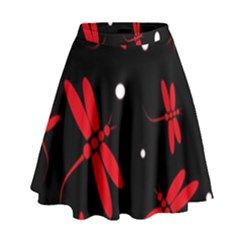 Red, black and white dragonflies High Waist Skirt