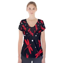 Red, black and white dragonflies Short Sleeve Front Detail Top