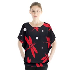 Red, black and white dragonflies Batwing Chiffon Blouse