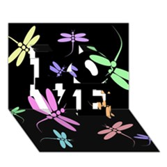 Pastel dragonflies LOVE 3D Greeting Card (7x5)