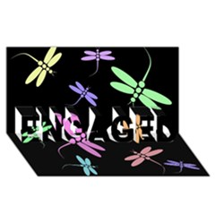 Pastel dragonflies ENGAGED 3D Greeting Card (8x4)