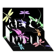 Pastel dragonflies Get Well 3D Greeting Card (7x5)