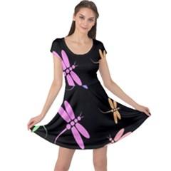 Pastel dragonflies Cap Sleeve Dresses